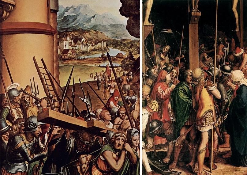 """Ганс Гольбейн Младший. """"Сцены Страстей Христовых"""". 1524 год. Две сцены: """"Несение креста"""" и """"Распятие"""""""