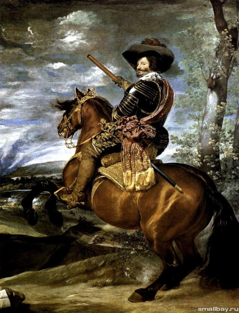 Диего Веласкес Конный портрет графа-герцога Оливареса. Дон Гаспа́р де Гусма́н-и-Пименте́ль, известный как граф-герцог де Олива́рес ( 1587 - 1645), — испанский государственный деятель, фаворит короля Филиппа IV.