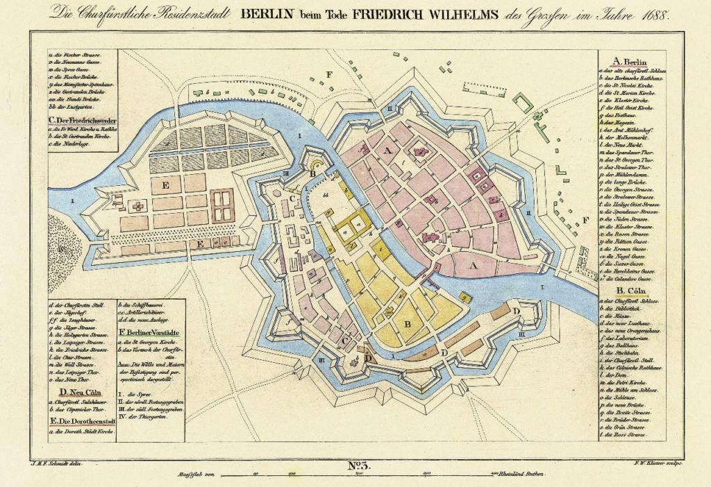 Берлин - город-крепость - при Фридрихе Вильгельме, 1688 год. На острове, образованном рукавами реки Шпрее, строится Королевский дворец. От него уходит на север Унтер-ден-Линден, по которому мы пробирались в эту временную даль.