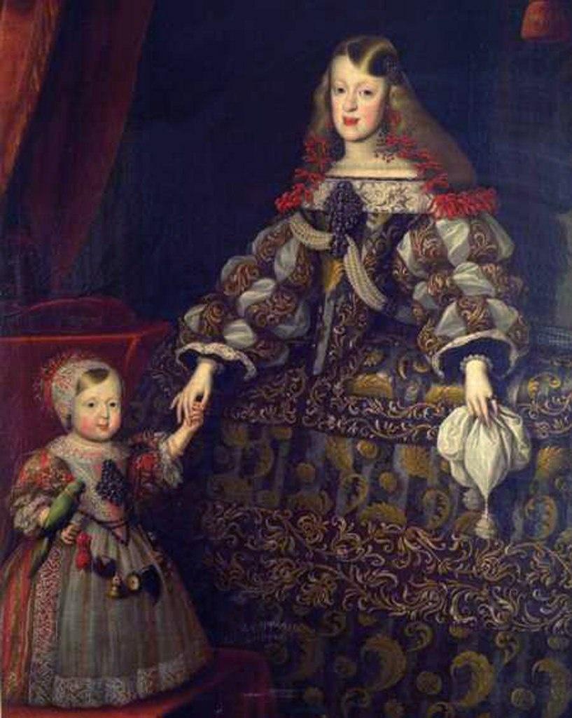 Императрица Маргарита Тереза с дочерью - эрцгерцогиней Марией Антонией (1669 - 1692), ставшей женой Максимилиана II.