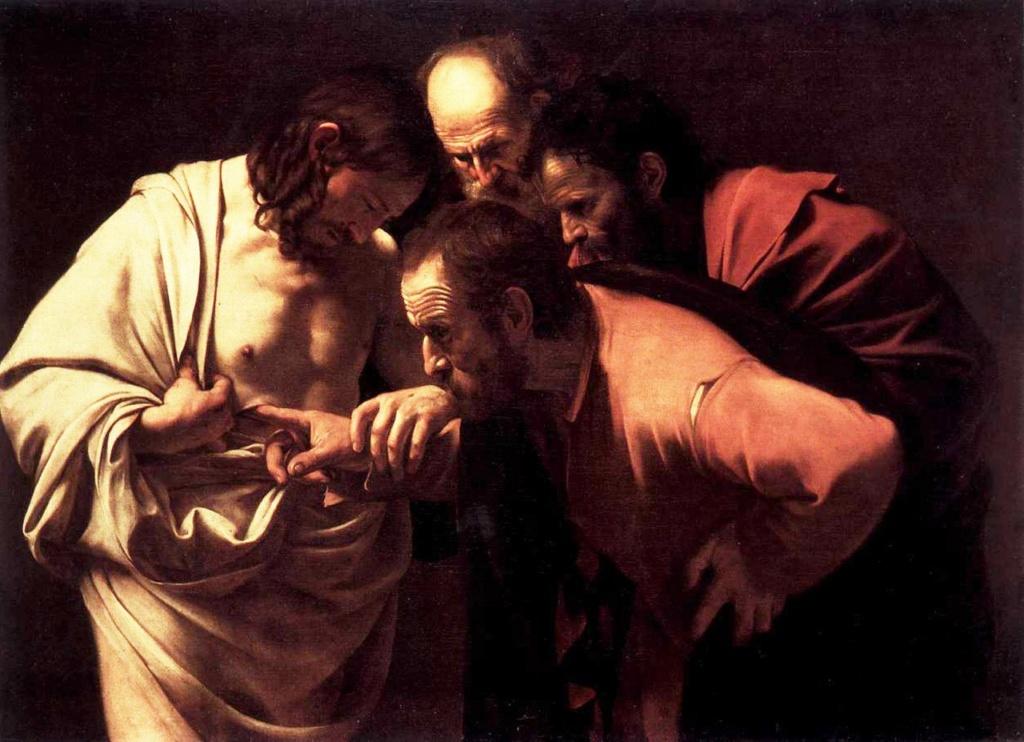 """Караваджо. """"Уверение Фомы"""", 1600-1602. Дворец Сан-Суси, Потсдам, Германия. Изображено явление Христа ученикам Своим после Распятия."""