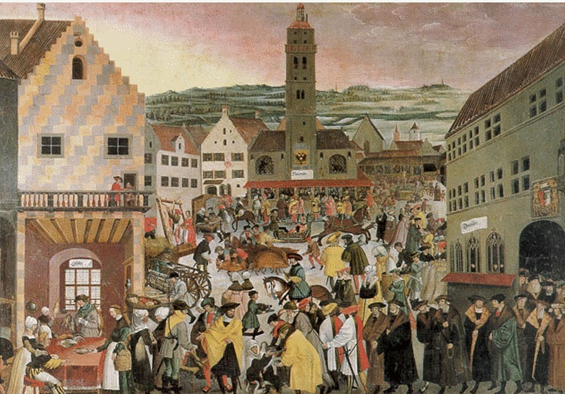 Вид Аугсбурга в начале XVI века. Цветная книжная иллюстрация