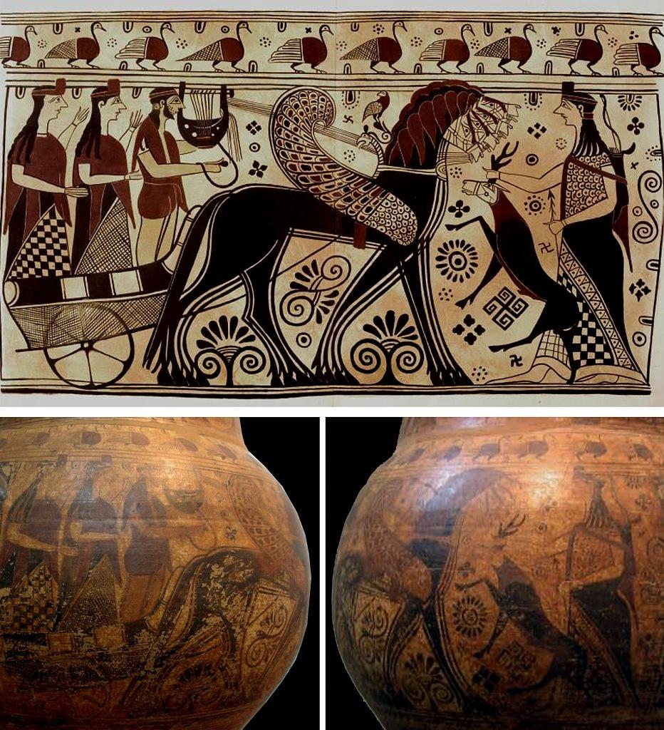 """Амфора VII в до н.э. """"Возвращение Аполлона на остров Делос"""". Исследователи склоняются к мысли, что Солнечный бог  возвращается на родной Делос из северной Гиперборейской страны"""