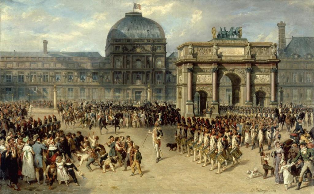 """Белланже Жозеф Луи Ипполит. """"Парад на плацу Каррузель возле дворца Тюильри во времена Империи. Арка в честь военных побед Наполеона построена на этой площади в 1806 г"""". 1830-е годы."""
