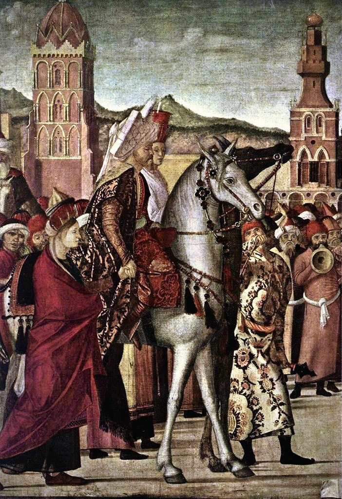 "Витторе Карпаччо. ""Триумф святого Георгия"". 1502-1507. Венеция. Scuola di San Giorgio degli Schiavoni. Левый фрагмент..."