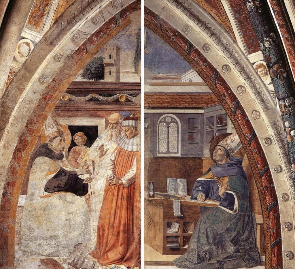 Сан-Джиминьяно, церковь Сант-Агостино. Гоццоли Беноццо. Цикл фресок «Жизнь святого Августина» (1464-1465). Благословение верующих в Гиппоне (сцена 14, северная стена). Явление святого Иеронима святому Августину  (сцена 15, восточная стена).