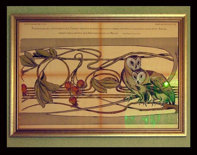 Рига. Улица Альберта, дом 12. Архитекторы: К. Пекшенс и Э. Лаубе. 1903. Музей югендстиля в первом этаже дома - в квартире К. Пекшенса. Картины (картоны из Милана) в Каминном зале.  Фото Антонины Кузнецовой