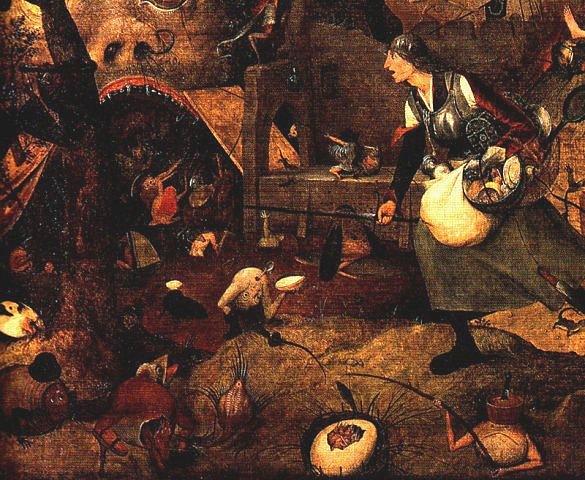 """Питер Брейгель Старший. """"Безумная Грета"""". 1562. Фрагмент - алчная старуха следует в Преисподнюю."""