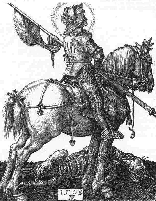 """Гравюры по металлу Альбрехта Дюрера, 1497-1498, галерея Кунстхалле, Карлсруэ. """"Святой Георгий - победитель дракона"""""""