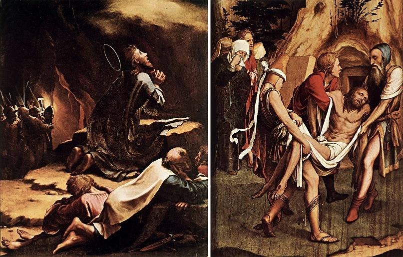 """Ганс Гольбейн Младший. """"Сцены Страстей Христовых"""". 1524 год. Две сцены: """"Моление о чаше"""" и """"Снятие с креста"""""""