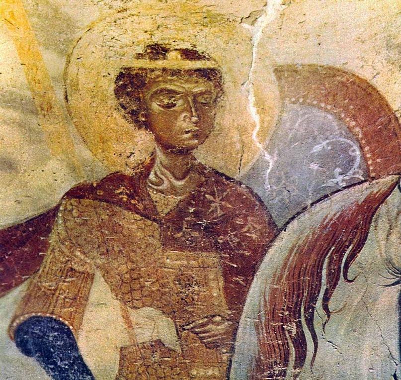 """Фреска """"Чудо Георгия о змие"""" в диаконнике собора Св. Георгия. 1164 год. Увеличенный фрагмент фрески. Староладожский Георгий уникален и эта исключительность превращает его в послание на все времена. Силы убеждения должно быть достаточно."""