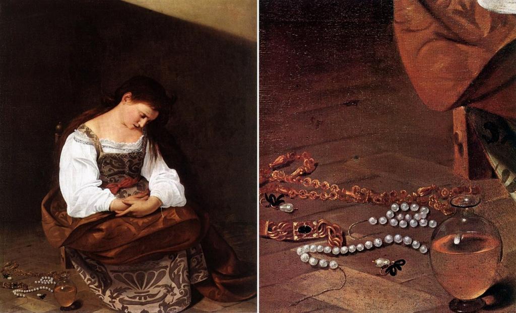 """Караваджо. """"Магдалина"""". 1596 - 1597. Сюжет свидетельствует: художник задумывается о своей жизни. Все дурное должно быть отброшено: главное - служение искусству.  Как наивны подобные упования - что главное определяет Судьба..."""