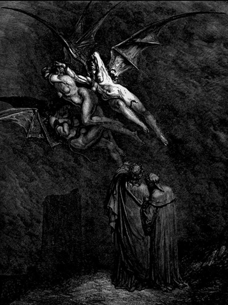 """Гравюры Г. Доре к """"Божественной комедии"""" Данте. (Inferno). 1860-е годы Три фурии: Тисифона - мстящая за убийство, Мегера - ненавистница, Алекто - неуемная. Богиням проклятия и кары место в преисподней, там они и обитают"""