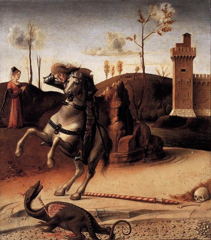 """XV ВЕК. Италия. Венецианская школа. Джованни Беллини.  """"Поединок Св. Георгия с драконом"""". Алтарь Песаро (предел?), 1471-1474"""