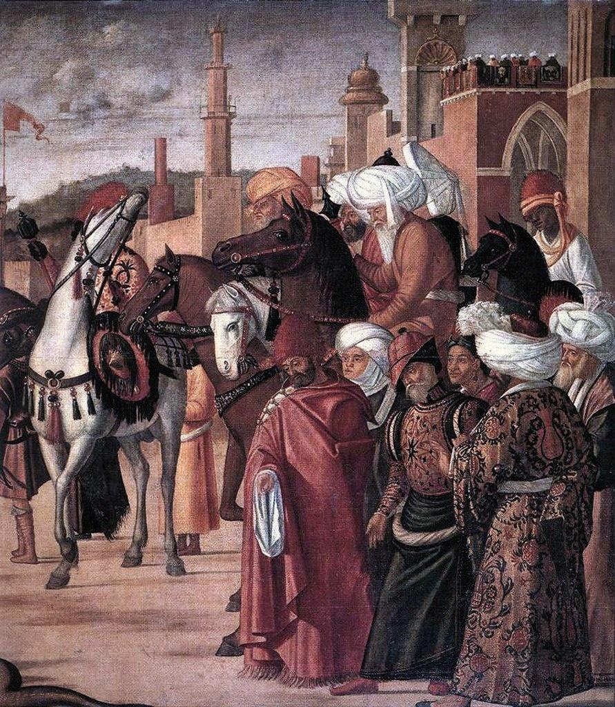 "Витторе Карпаччо. ""Триумф святого Георгия"". 1502-1507. Венеция. Scuola di San Giorgio degli Schiavoni. Правый фрагмент."