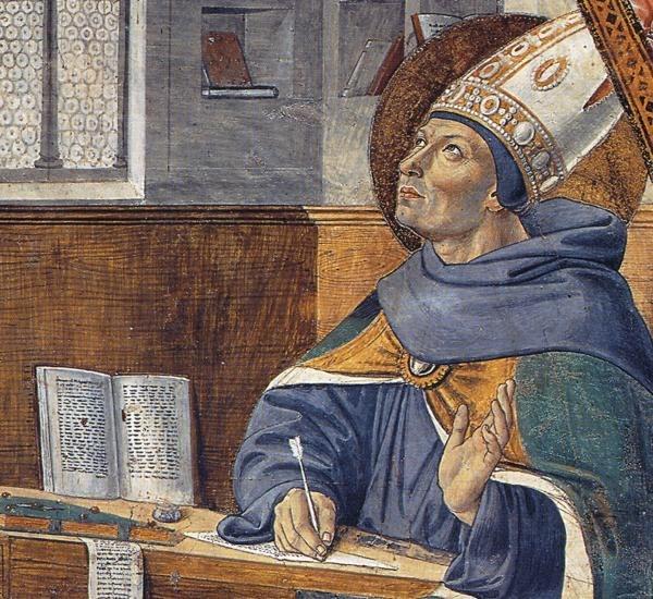 Сан-Джиминьяно, церковь Сант-Агостино. Гоццоли Беноццо. Цикл фресок «Жизнь святого Августина» (1464-1465). Явление святого Иеронима святому Августину (сцена 15, восточная стена).