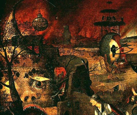 """Питер Брейгель Старший. """"Безумная Грета"""". 1562. Преисподняя на фоне неба в пламени пожарищ"""