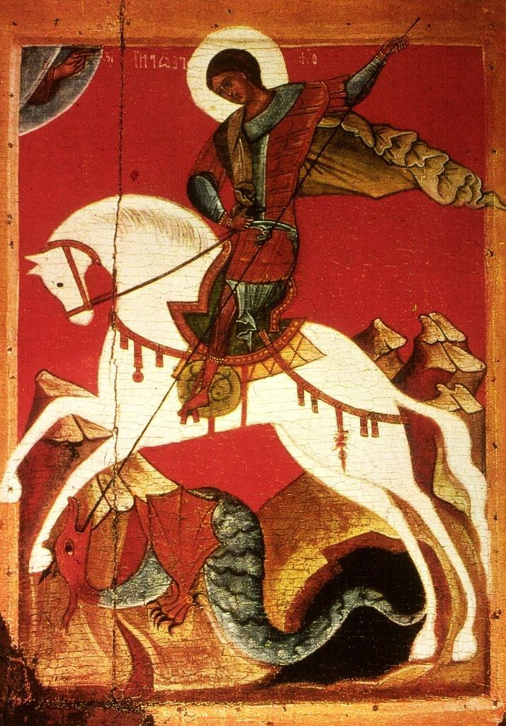 Георгий Победоносец со времён Дмитрия Донского считается покровителем Москвы. Во времена Ивана III изображение всадника-змееборца утвердилось как герб Московского княжества. В 1710-х годах Петр I назвал всадника на гербе святым Георгием...