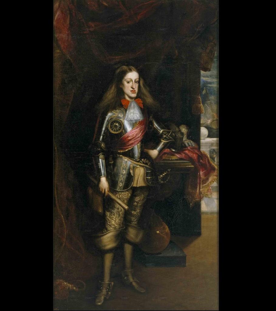 Карл II Габсбург, король Испании. Портрет работы испанского придворного живописца Хуана Карреньо де Миранда, 1681 год Через четыре года Филипп IV умирает, а Карлос «становится четырёхлетним королём полумира».