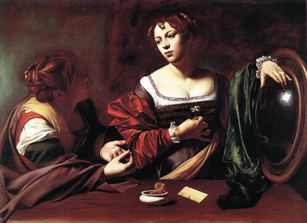 """Караваджо. """"Марфа и Мария"""". 1598. Сюжет на тему тех же размышлений: все - суета,  служение -та """"благая часть"""", что всему дает оправдание..."""