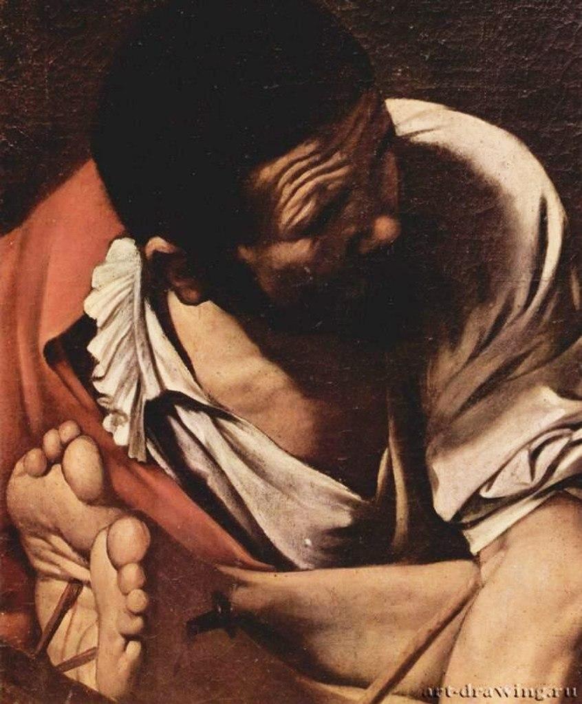 """Санта Мария дель Пополо, капелла Черази, Рим. Караваджо. """"Распятие апостола Петра"""" (фрагмент). 1600 - 1601. Один из трех палачей и ступни Петра..."""