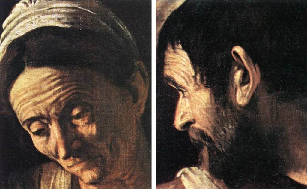 Караваджо. «Ужин в Эммаусе». 1606. Пинакотеке Брера, Милан. Фрагменты - портреты старухи и старика.