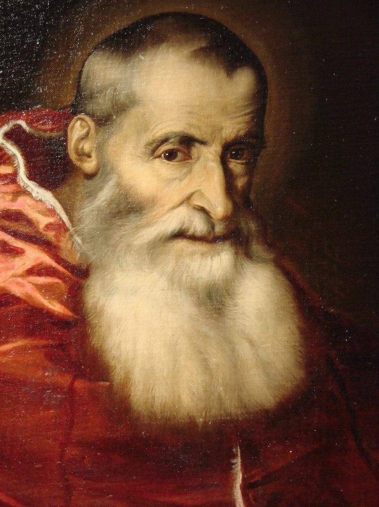 Тициан Вечеллио. Портрет Римского папы Павла III. Фрагмент.
