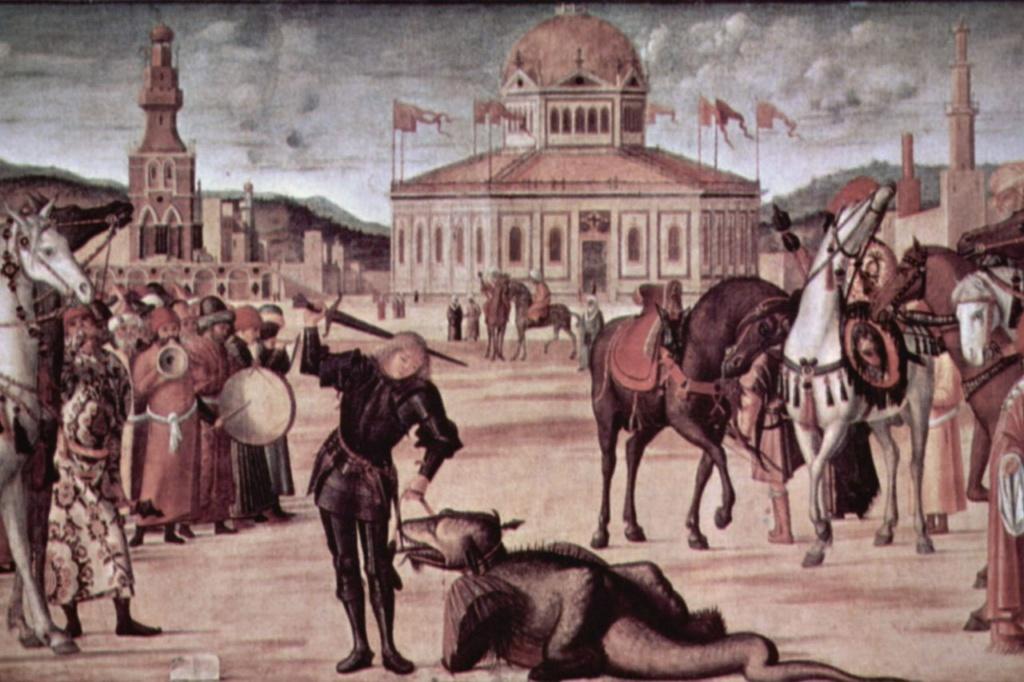 """Витторе Карпаччо. """"Триумф святого Георгия"""". 1502-1507.  Венеция. Scuola di San Giorgio degli Schiavoni.  Центральный фрагмент."""