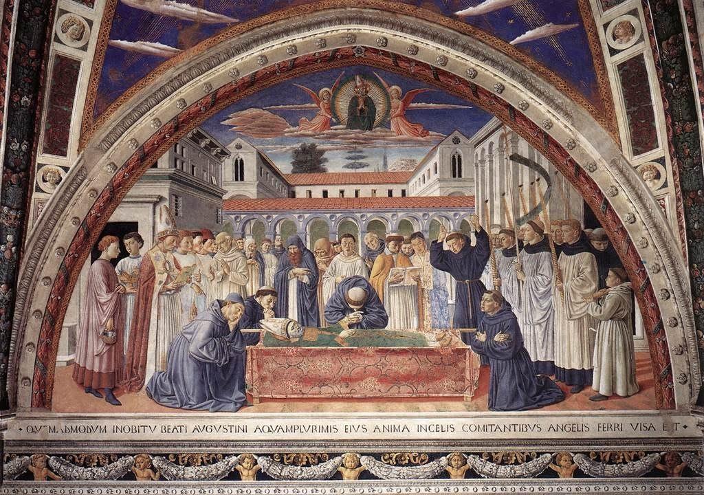 Сан-Джиминьяно, церковь Сант-Агостино. Гоццоли Беноццо. Цикл фресок «Жизнь святого Августина» (1464-1465). Погребение святого Августина (сцена 16, южная стена).