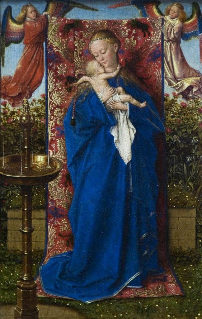 Ян ван Эйк. Мадонна и Ребенок у Фонтана. 1439. Королевский музей изящных искусств, Антверпен. Поздняя работа ван Эйка, написанная за два года до смерти, в которой обобщаются его раздумия об единстве Небесного и Земного начал.