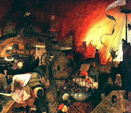 """Питер Брейгель Старший. """"Безумная Грета"""". 1562. Город, охваченный огнем"""