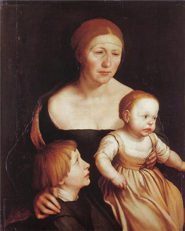 """Ганс Гольбейн Младший. """"Семейный портрет"""". 1528 год. Портрет жены художника Эльзбет с дочерью Катериной и сыном Филиппом."""