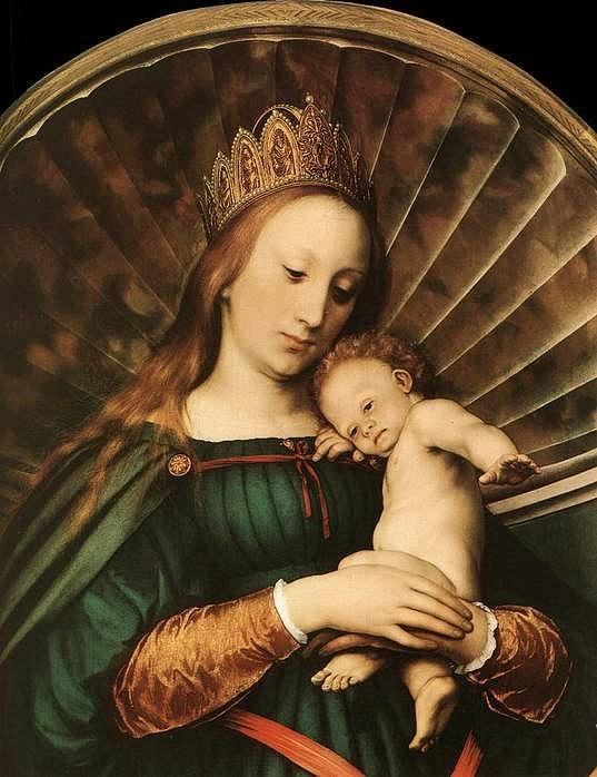 "Ганс Гольбейн Младший. ""Мадонна бургомистра Мейера"". 1526 - 1530. Дармштадт. Исполнена для алтаря капеллы замка Мейера, около Базеля"