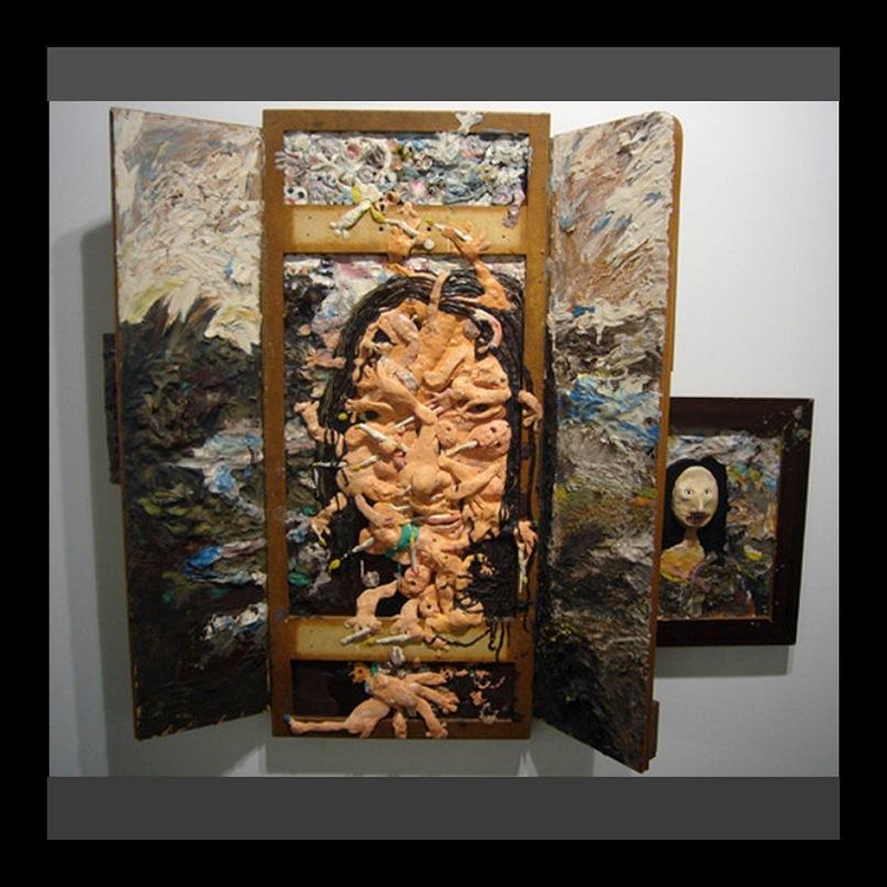 """Экспонаты выставки-ярмарки """"Арт-Базель - 2010"""". Створчатый алтарь с мазками, рельефными пластами, сквозь которые проглядывает обезображенный лик Джиоконды. Это - двойное богохульство. Больше мне нечего сказать..."""