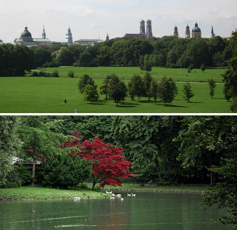 Мюнхен. Английский парк - не регулярный, пейзажный. Создан в 1792 году садовым архитектором Фридрихом Людвигом Шкелем. Общая площадь парка — 3,7 км2, протяжённость — приблизительно 5,5 км от центра Мюнхена до северной окраины.