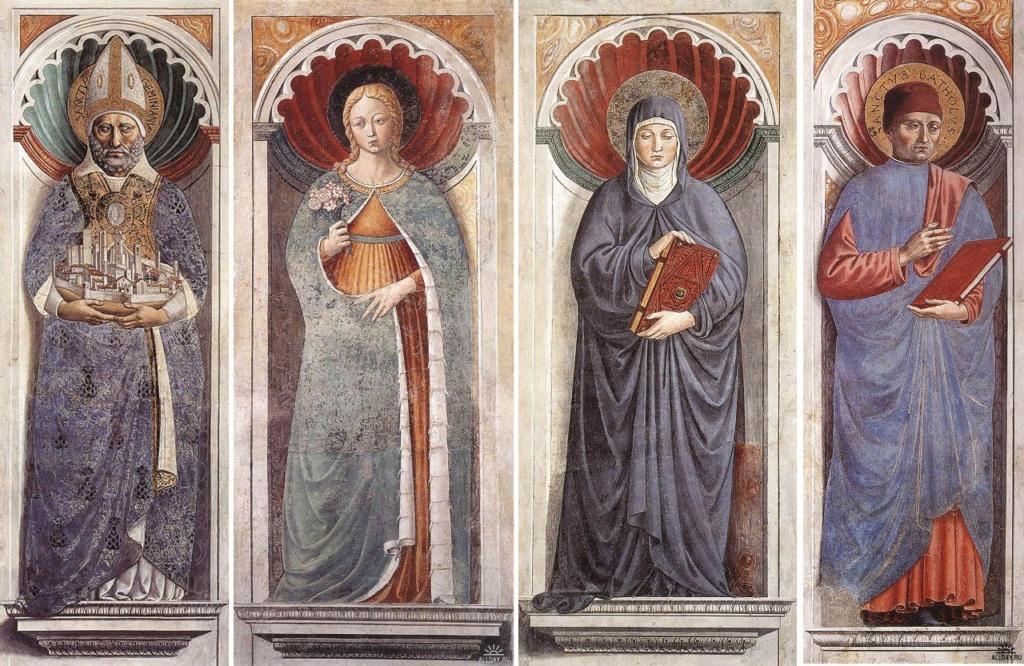 Сан-Джиминьяно, церковь Сант-Агостино. Гоццоли Беноццо. Фрески на столпах: Св. Джиминьяно, Св. Фина, Св. Моника...
