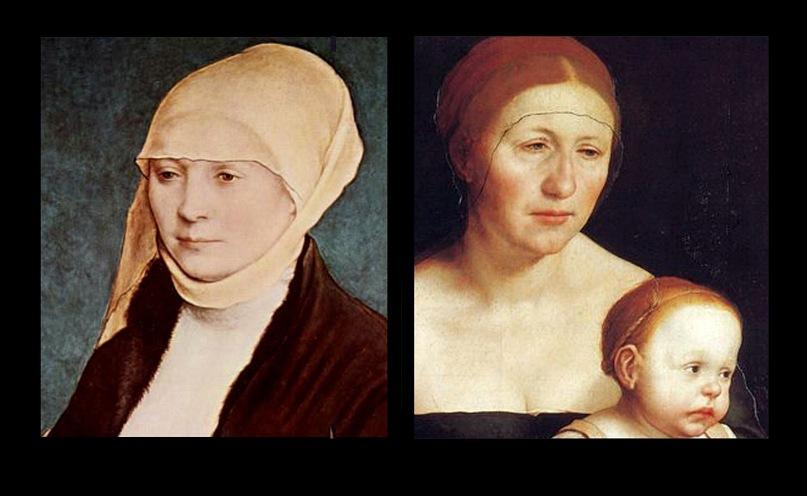 """Ганс Гольбейн Младший. Портрет Эльзбет Шмидт. 1517 год. Ганс Гольбейн Младший. """"Семейный портрет"""". 1528 год. На обоих портретах изображена одна и та же женщина: разница в возрасте - около десяти лет..."""