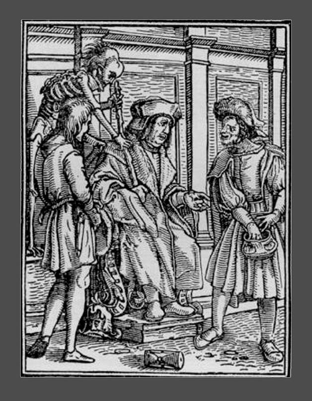 """Ганс Гольбейн Младший. """"Пляска Смерти"""". 1526 год - создание. 1538 - публикация. """"Судья"""""""