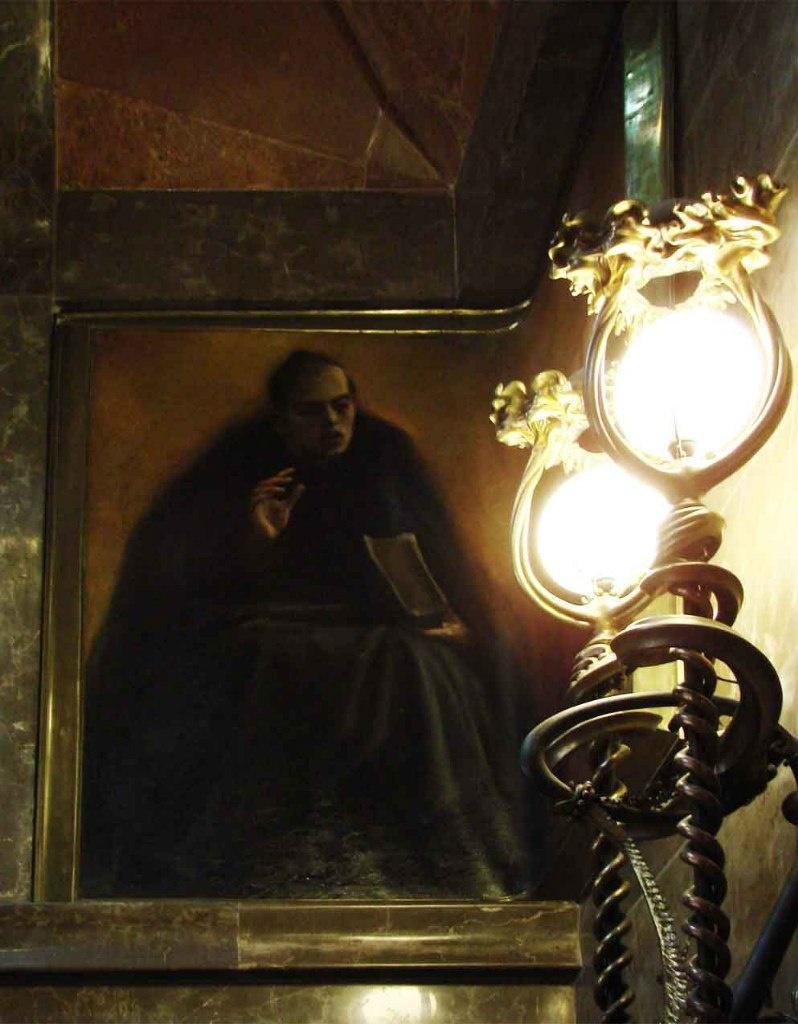 """Дворец Гуэля. Бельэтаж. Настенное панно - """"Философ Жауме Бальмес"""". Автор - Алейша Клапес: художник из Реуса, где родился Гауди"""