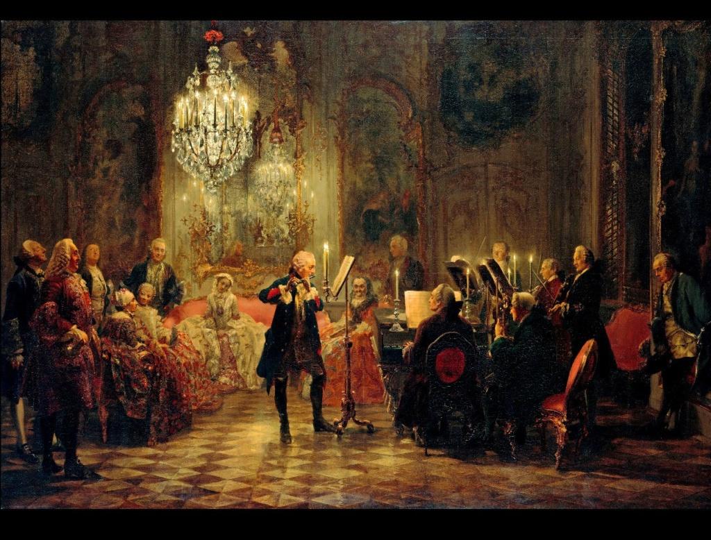 Адольф фон Менцель. «Флейтовый концерт в Сан-Суси». Фридрих Великий играет на флейте, ему аккомпанирует Карл Филипп Эммануил Бах - сын Иоганна Себастьяна Баха.