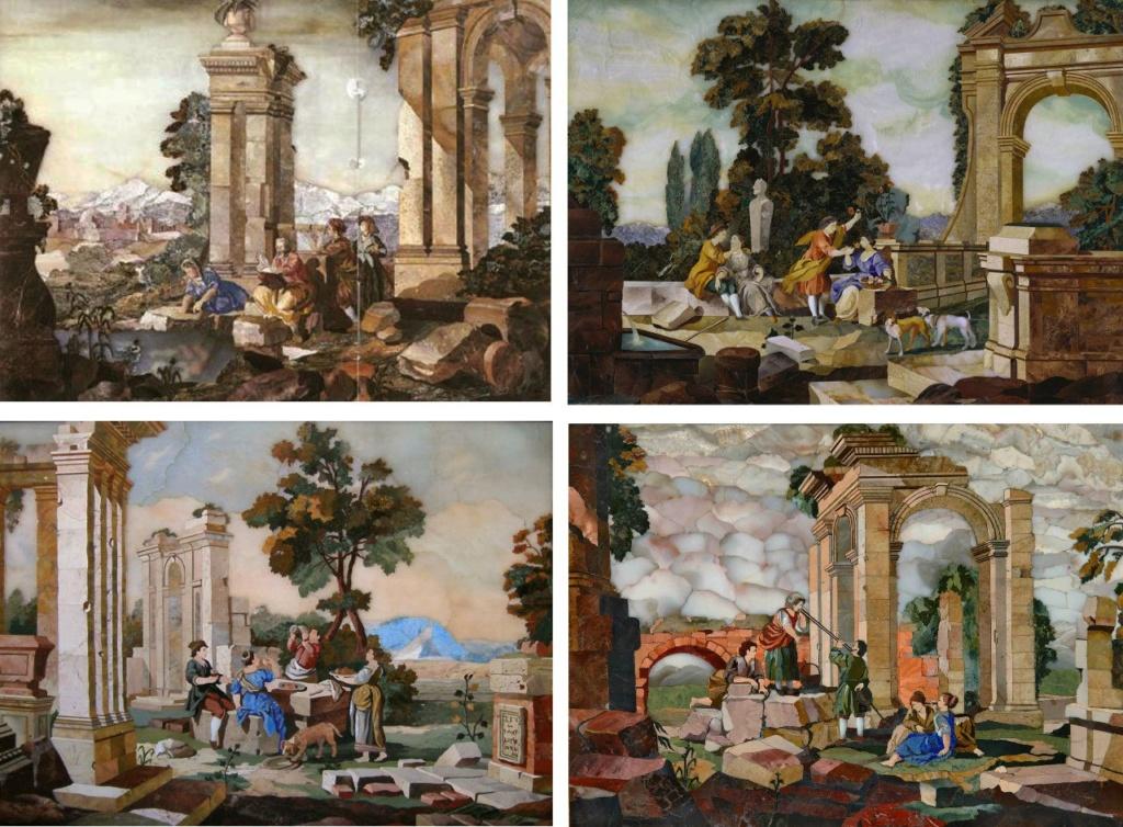 Янтарная комната. Четыре из пяти панно  с флорентийской мозаикой. 1750 год.  То - аллегории пяти чувств:  Зрение, Вкус, Слух, Осязание и Обоняние.