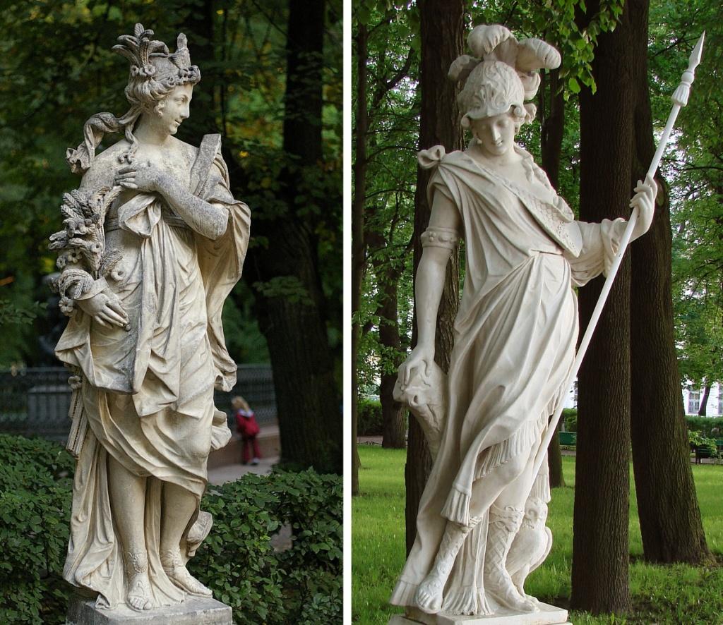 Петербург. Летний сад (до реконструкции).  Статуя Минерва. Т. Квеллинус. Фландрия. Начало ХVШ в. Мрамор.