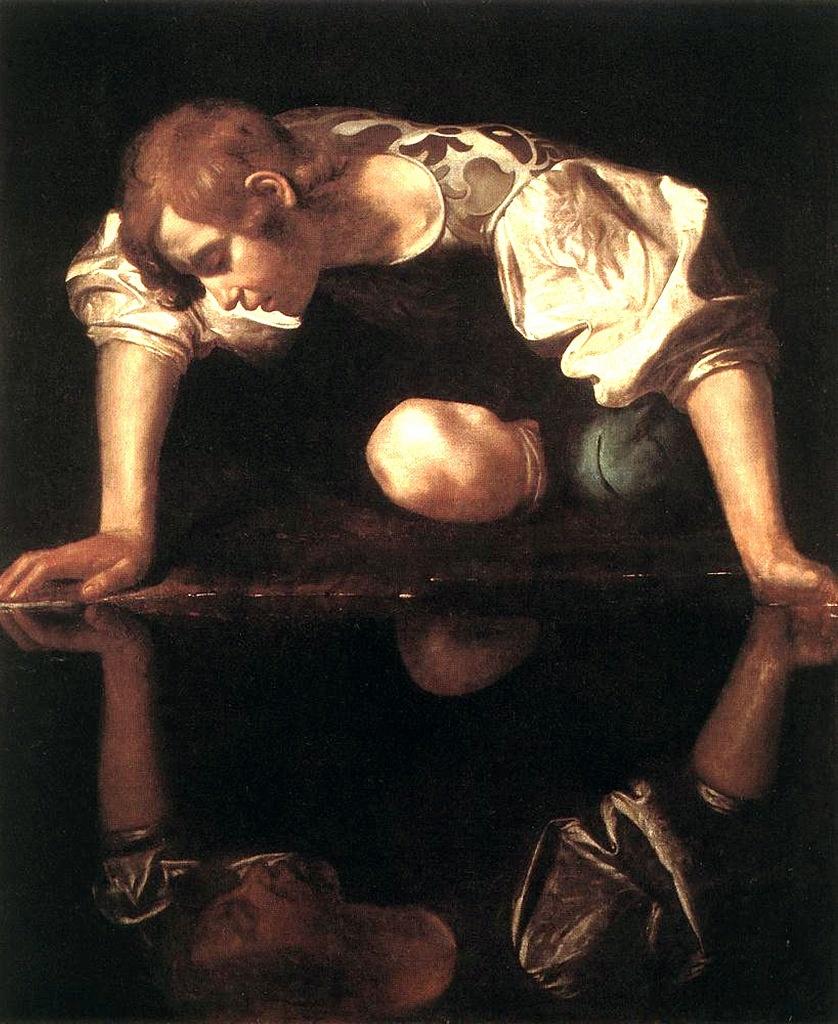"""Караваджо. """"Нарцисс у ручья"""". 1599. Национальная галерея античного искусства, Рим. Юноша смотрит отражению в глаза.  Он видит не Красоту - Тьму зазеркальную , запредельную.  Тьма и Свет образуют Круг, из которого не выбраться."""