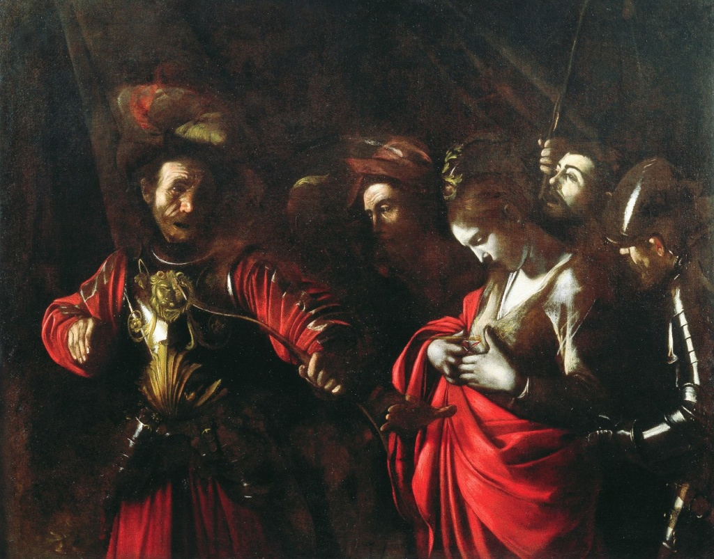 Караваджо. «Мученичество Св.Урсулы». 1610. Правитель гуннов (слева) предложил Урсуле - дочери короля Бретани - стать его женой, получил отказ, пронзил ее стрелой. Здесь показана СМЕРТЬ, ЧТО ПРИХОДИТ МОЛЧА И НЕИЗБЕЖНО...
