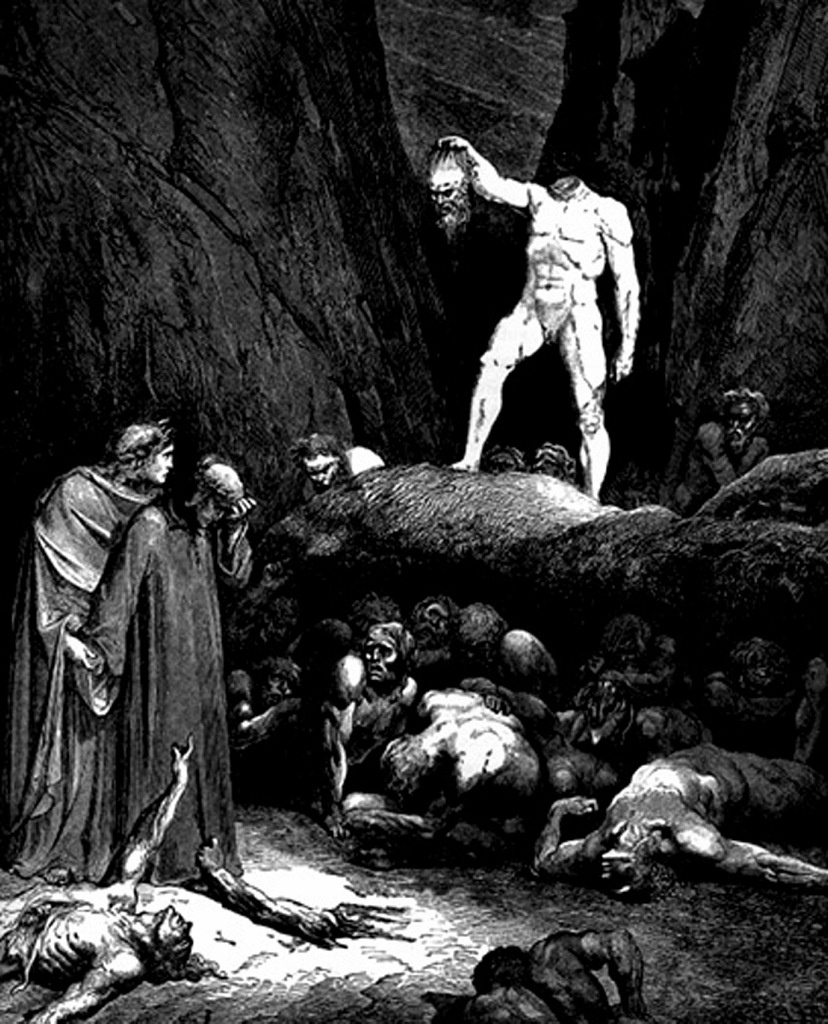 """Гравюры Г. Доре к """"Божественной комедии"""" Данте. (Inferno). 1860-е годы Есть в Аду грешники со срезанными головами, что держат их в руках, как фонари. За что такое наказание? Этот """"связь родства расторг пред целым светом"""""""