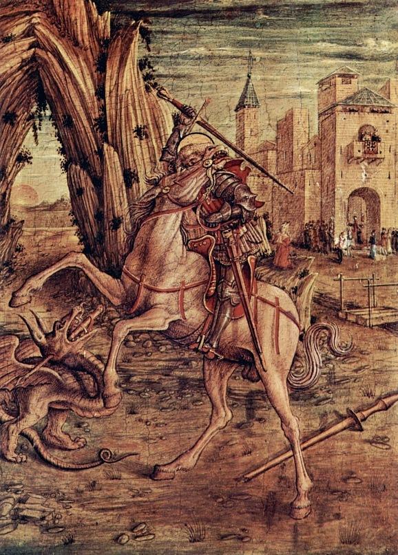 """Мадонна делла Канделетта (нижняя икона - """"Св. Георгий и дракон"""".  Кривелли Карло. 1490-1492."""