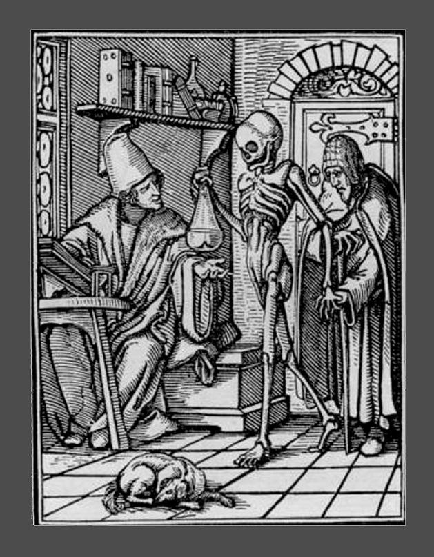 """Ганс Гольбейн Младший. """"Пляска Смерти"""". 1526 год - создание. 1538 - публикация. """"Врач"""""""