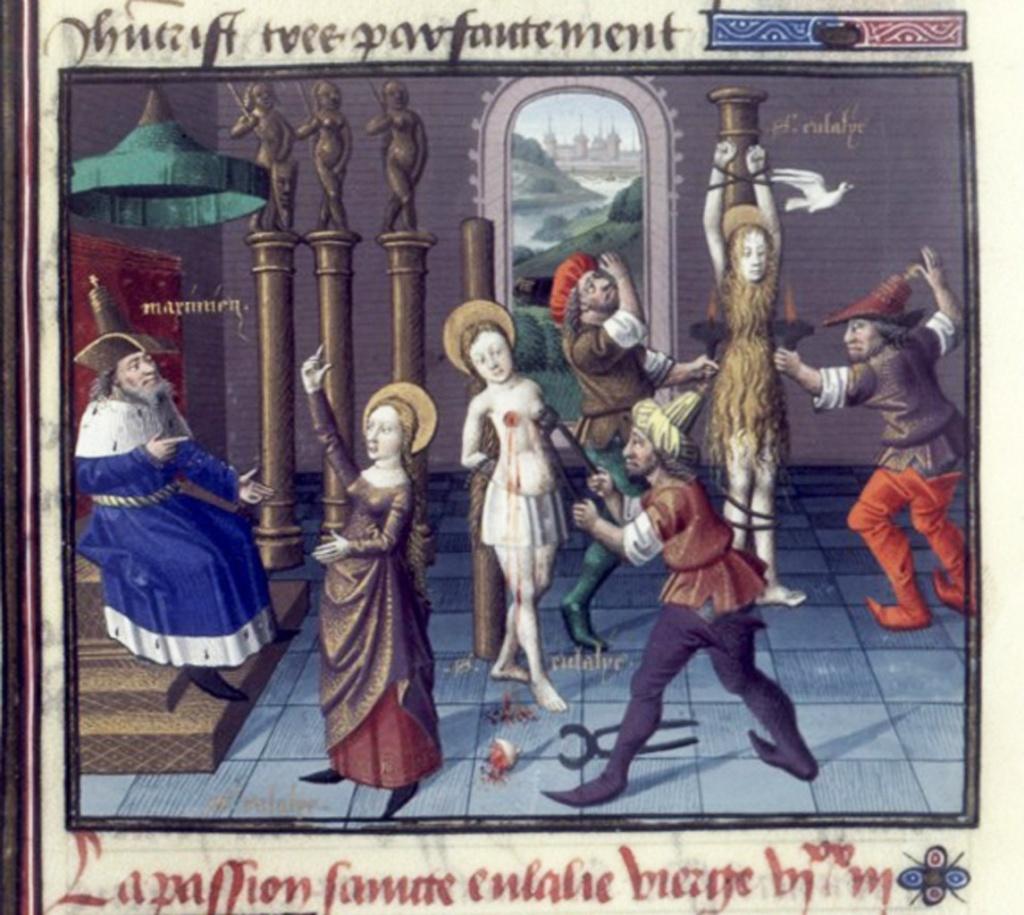 Евлалию приговорили к пытке крючками и факелами. Во время пытки из её рта вылетел голубь, что напугало её мучителей. В это же время Евлалию накрыл внезапно выпавший снег, прикрывший её наготу.