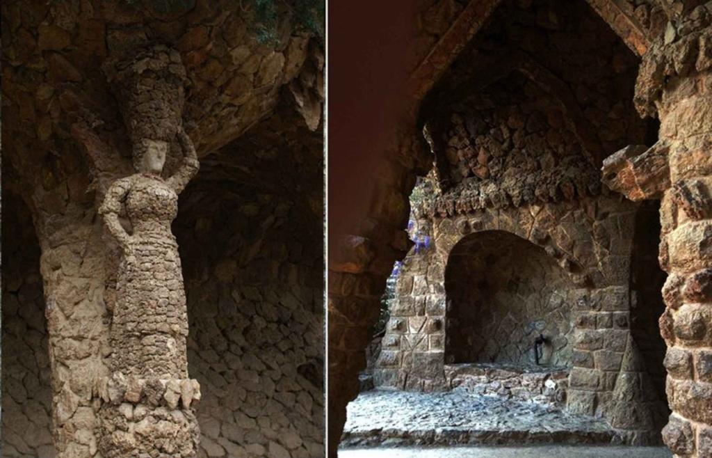 """Средний (""""виадук Прачки""""), выполненный в стиле барокко. На фото слева - """"Прачка"""", изображенная в фас. На фото справа - грот в угловом повороте галереи. Камень, форму обретая, образности не теряет - играет..."""
