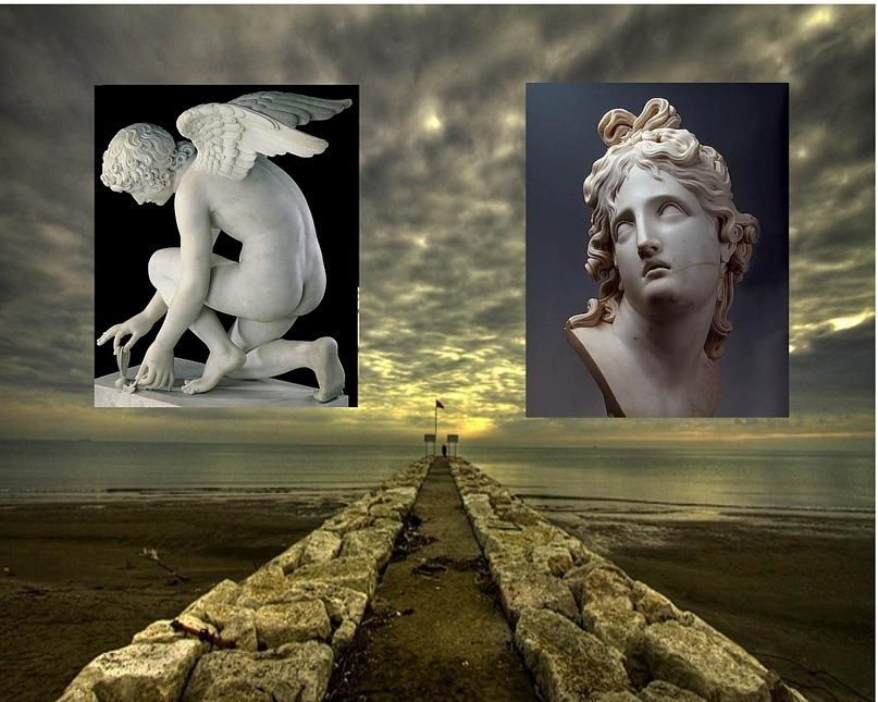 Скульптура Эрота, играющего с бабочкой - чьей-то душой. Бюст Танатоса, всем смертью угрожающего... Они - два разных Бога? Нет, они - две стороны одного и того же явления - человеческой жизни...